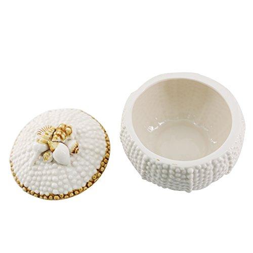 oamore Erizo de mar de cerámica Caja joyero Organizador Ornamentos de