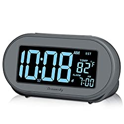 DreamSky Auto Time Set Alarm Clock with Snooze & Full Range Dimmer 0-100% Adjustable Brightness, USB Charging Port, Auto DST, 4 Time Zones Alarm Clocks for Adult Kids Bedrom