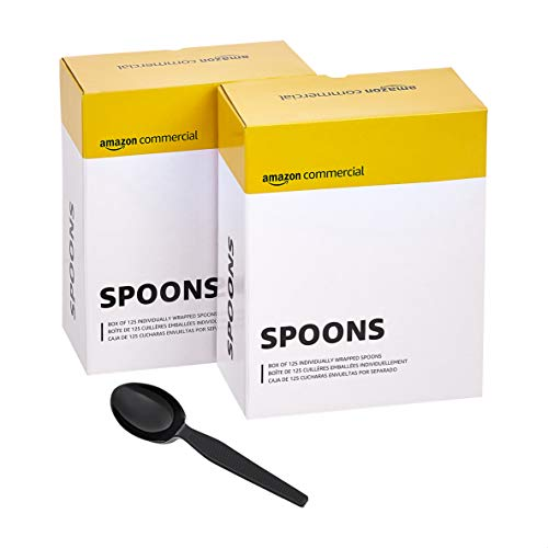 AmazonCommercial Take Away Spoons, 2 Display Boxes of 125 Individually Wrapped Spoons (250 Count)