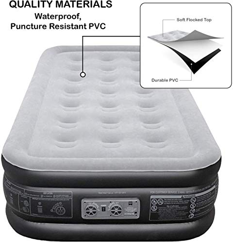 EZ INFLATE Double High Luxury Twin Air Mattress with Built in Pump, Inflatable Mattress, Twin airbed with Flocked top, All Purpose Twin Blow up Bed, Home Camping Travel