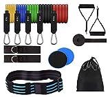 Profit Set de Ejercicio - Deporte y Ejercicio en Casa - Gomas Elasticas Fitness - Banda Elástica Musculación Pilates Ajustable - Core Sliders - Bolsa Transporte 14 PCS