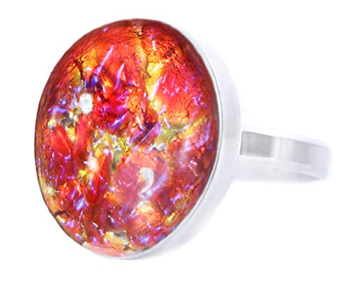 The Sun And The Moon Collection, Sunset, Fire Opal, Red Gold Blue, 925 Sterling Silver Round Classic Ring, Size 15, US 7.5, BohemStyle