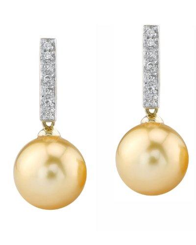 Mar del sur de oro diamante pendientes en perla cultivada de peluche 14 K oro