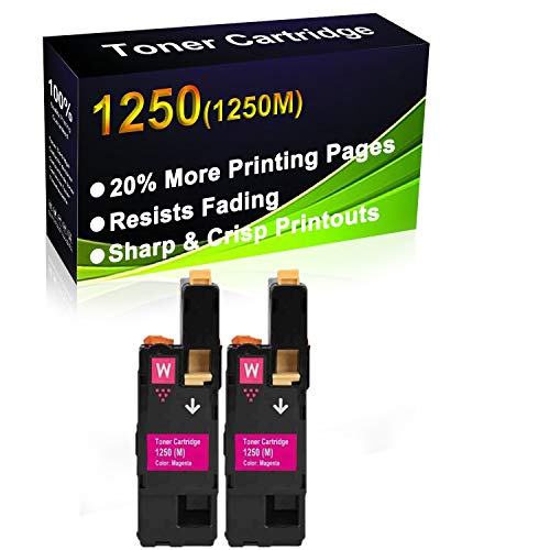2-Pack (Magenta) Compatible 1250c 1350cnw 1355cn 1355cnw c1760nw c1765nf c1765nfw Laser Printer Toner Cartridge (High Capacity) Replacement for Dell 1250M Printer Toner Cartridge