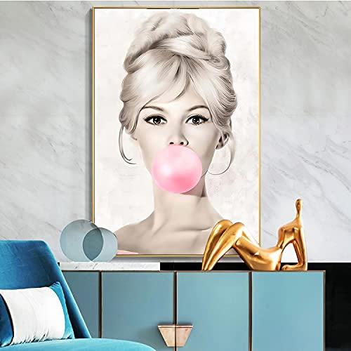 Yegnalo Arte de Pared nórdico Famosa Actriz Rosa Chicle Estrella Lienzo Chica habitación Carteles e Impresiones