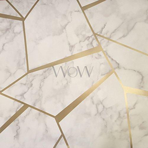 Fine Decor FD42265 Tapete, geometrisch, marmoriert, goldfarben/Weiß