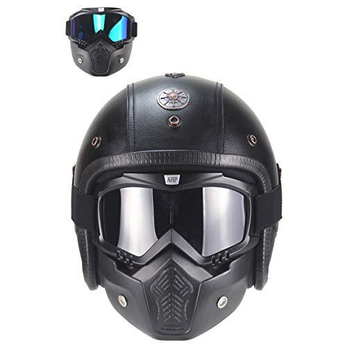 Muccy Erwachsene Motorradhelm mit Visier, Damen Herren Jethelm mit Maske Brille, Retro Stil Roller-Helm Mofa-Helm Offener Helm DOT-Zertifizierung Cruiser Jugendreithelm, Schwarz Leather,L