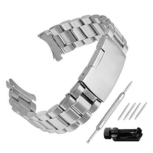 Weimob Unisex Edelstahl Uhrenarmband 20mm Breit Silber mit Faltschließe Kurve Anstoß Länge Verstellbar mit Install-Werkzeug und Linksentferner wa023S20weimob