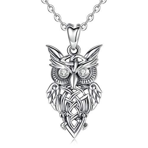 INFUSEU 925 Sterling Silver Owl Necklace, Cubic Zirconia Retro series Owl Pendant Necklace Gift for Women/Men