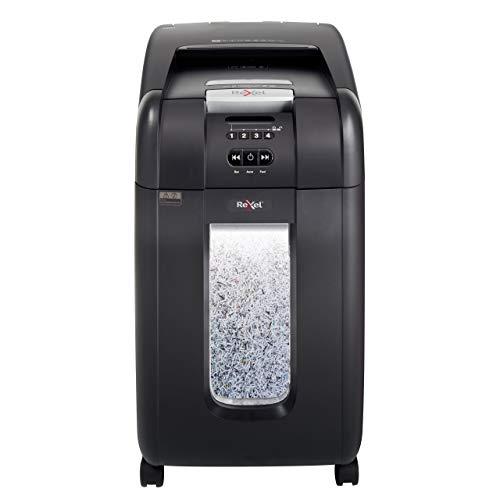 Rexel 2104300EU Auto+ 300M Aktenvernichter (für Kleinbüros, Mikroschnitt, Autofeed, 40L Abfallbehälter, 330 Blatt Kapazität) schwarz