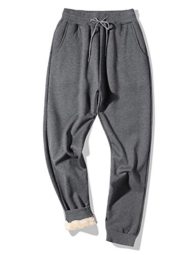 Gihuo Men's Winter Fleece Pants Sherpa Lined Sweatpants Active Running Jogger Pants (Dark Grey, Large)