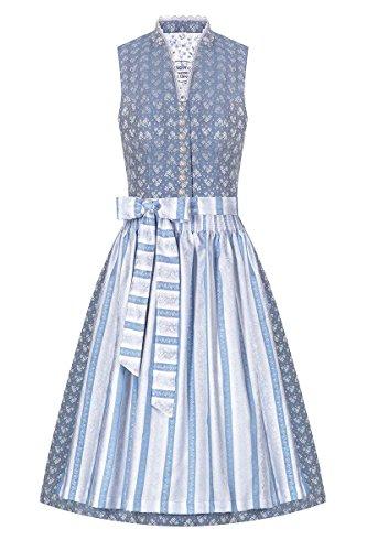 Tramontana Moser Trachten Midi Dirndl 70er hellblau weiß 005024#T8982/7, Rocklänge: ca. 70 cm, mit Knopfleiste, Größe 38