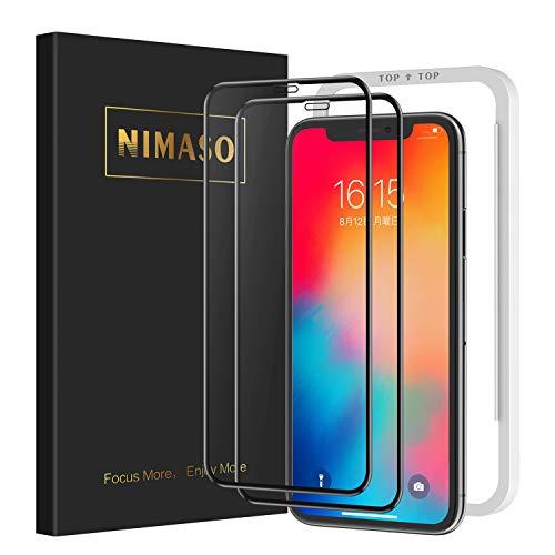 【2枚セット】Nimaso iPhoneX/Xs 用 全面保護フィルム 液晶強化ガラス 【フルカバー】【日本製素材旭硝子製】3D Touch対応/業界最高硬度9H/高透過率