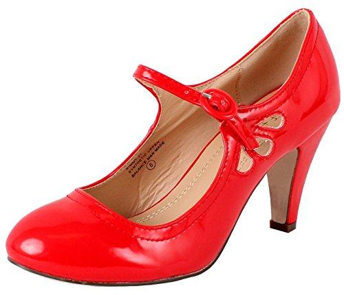 Chase & Chloe Kimmy-21 Women's Round Toe Pierced Mid Heel Mary Jane Style Dress Pumps (8 B(M) US, Red Patent)
