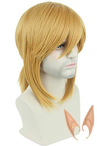 Topcosplay Blonde Perücke, kurz, seitlich, Pony, mit Zopf, Cosplay, Halloween, Kostüm, Perücken für Damen oder Herren