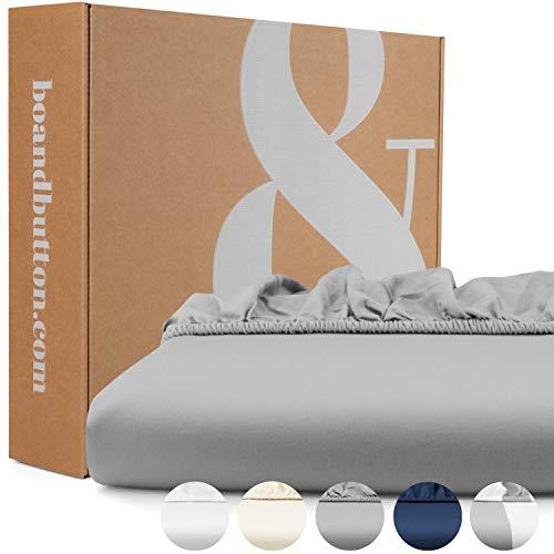 bo&button® Mako Satin Spannbettlaken | Echte Bio Luxusqualität | ALLE GRÖßEN für Matratzen & Boxspringbett Topper | 100% Baumwolle, GOTS & Fairtrade | 90x200 cm, 30 cm Höhe, Stone Grau