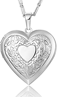 Reizteko Heart Charm Necklace Platinum/Rose Gold/18K Gold Plated Locket Pendant - with 22 Inches Chain (Silver)