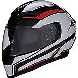 Casco Moto Integrale Omologato Z1R con Visiera Pieghevole e Visiera Parasole | Ventilazione | Colore Nero, Rosso e Bianco | Policarbonato | Uomo o donna (Medium)