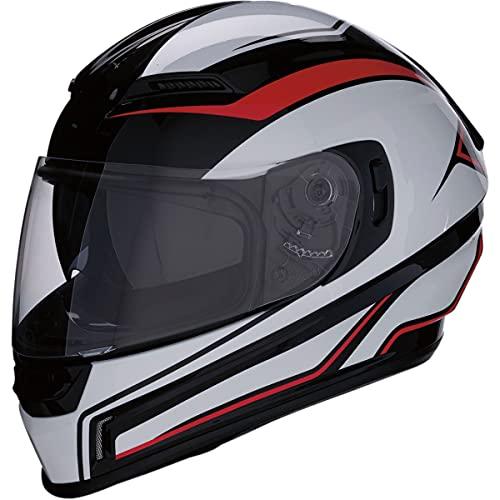 Casco Moto Integrale Omologato Z1R con Visiera Pieghevole e Visiera Parasole | Ventilazione | Colore Nero, Rosso e Bianco | Policarbonato | Uomo o donna (Large)