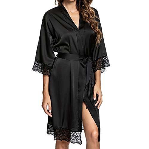 UMIPUBO Chemise de Nuit Kimono Peignoir en Satin pour Femme Chemise de Nuit Sexy en Dentelle à col en V avec Poches (Noir,Large)
