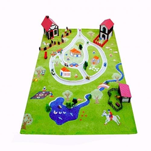 Little Helper 101MD011YE13182 IVI Hypoallergener Dicker 3D-Kinderspielteppich, 134 x 180 cm, mehrfarbig, Grün