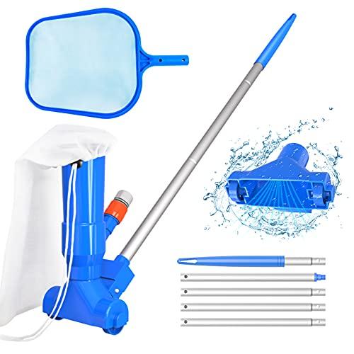 Limpiador de cabezas de aspiradora de mano para piscina, cepillo, bolsa, 5 secciones de barra, espumador de vacío de hoja de red, kit de mantenimiento portátil para piscina de fuentes y jacuzzi