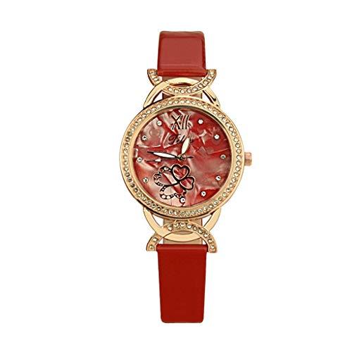 Luckhome Horloge voor dames en heren horlogebandjes vrouwen met lederen armband zakelijk klassiek analoog kwarts dunne elegante Simple Style Fashion Casual Dameshorloge lederen band A-linie rot rood