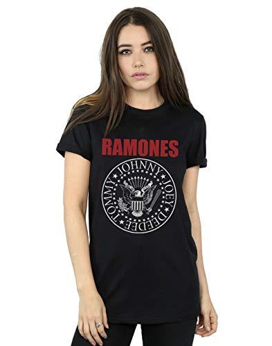 Ramones Women's Red Text Seal Boyfriend Fit T-Shirt Black Medium