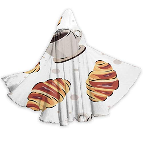 Amanda Walter Fasenix Coffee and Croissant Pattern Unisex Adult Halloween Cape Cloak Disfraz de Mago Vampiro