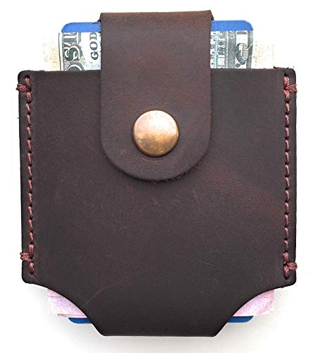 Mens Leather Wallet Unique Minimalist Style - Cowhide Genuine Leather Card Holder - Handmade Quality...