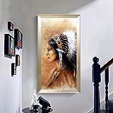 KWzEQ Decoración de Retrato Indio de póster Moderno de Arte de Plumas Nobles sobre Lienzo en la Pared de la Sala de Estar,Pintura sin Marco,30x60cm