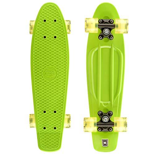 Xootz Retro-Kunststoff-Skateboard mit LED-Leuchtrollen, für Kinder, komplett, Kinder, Complete Retro Plastic, grün