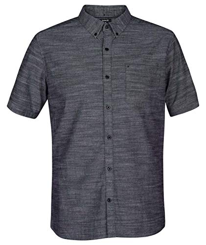 Hurley Men's One & Only Textured Short Sleeve Button Up, Black, L
