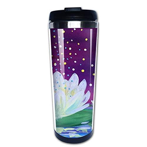 Taza de café de Acero Inoxidable Taza de café Reutilizable Adecuada para Viajes y Trabajo al Aire Libre Taza Tazas,Pintura de loto