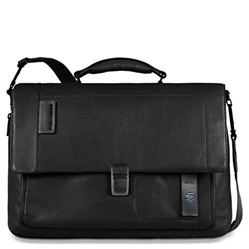 Piquadro Pulse messenger porta PC espandibile con tasca porta iPad®/iPad®Air e scomparto porta iPad®mini - CA3111P15 (Nero)