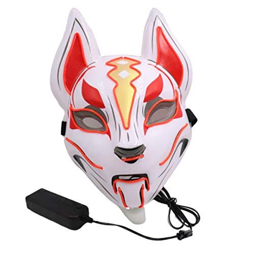 Máscara resplandeciente Fox Fiesta de Halloween Cara de Gato LED Carnaval Máscara...