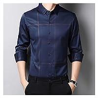 JJSPP 長袖の男性ソーシャルシャツカジュアルな格子縞のシャツメンズスリムなレギュラーフィット服 (Color : Blue, Size : XXXL code)