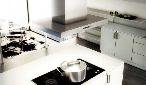 berbel Inselhaube Blockline BIH 90 BL-2 (600-950mm) Abluft weiß/schwarz/Edelstahl/RAL-Farbe/Effektbeleuchtung