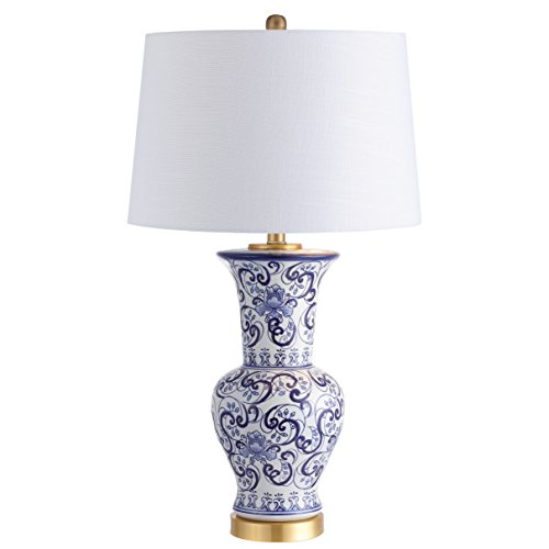 "Leo 28.5"" Chinoiserie LED Table Lamp Classic,Cottage,Traditional,Transitional for Bedroom, Living Room, Office, College Dorm, Coffee Table, Bookcase, Blue/White - JONATHAN Y JYL5014A"