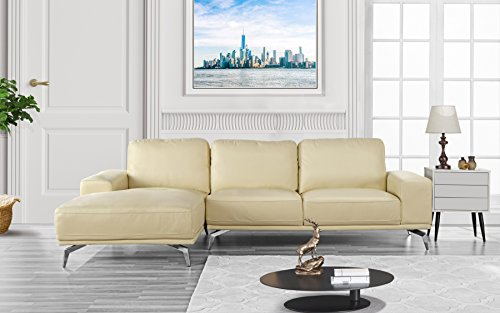 Divano Roma Furniture - Modern Real Leather Sectional Sofa, L-Shape Couch w/Chaise on Left (Beige)