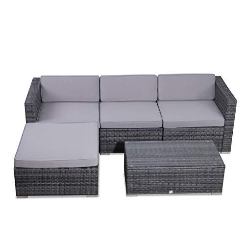 SVITA Poly Rattan Lounge California Gartenset Sofa Garnitur Polyrattan Gartenmöbel Farbwahl (Grau) - 6