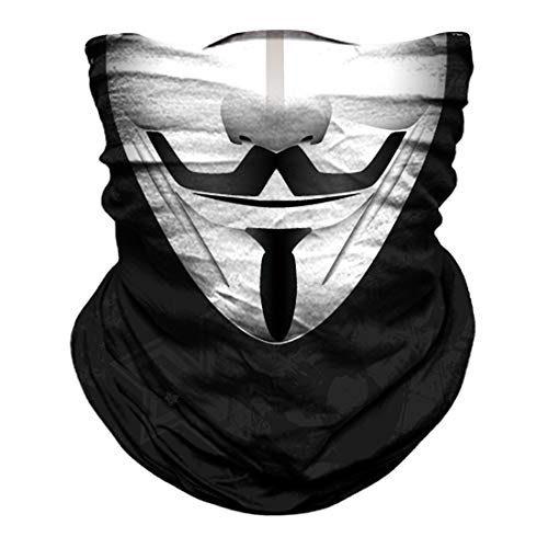 Skull Face Mask Dust Wind Sun Protection Seamless 3D Tube Mask Bandana for Men Women Durable Thin Breathable Skeleton Mask Motorcycle Riding Biker Fishing Cycling Sports Festival (Clown white)