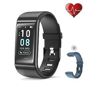 JREAR Pulsera de Actividad Inteligente, IP68 Impermeable Reloj Inteligente con Presión Sanguínea Pulsómetro Podómetro Calorias Monitor de Sueño, Pulsera Actividad Smartwatch 9