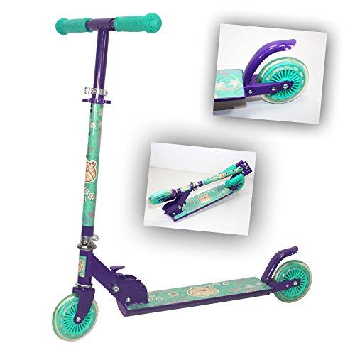 KINDER-SCOOTER TRETROLLER Cityroller Kickroller Roller Kinder klappbar ~sb 936 c (Türkis/ Lila)