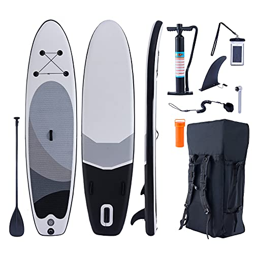 """ZELUS Inflatable Paddle Board for Adults, 10'6"""" Long Hybrid Stand Up Paddle Board, 4"""" Rocker 2+1 SUP Board for Outdoor Play Fishing Yoga Fun with Air Pump Leash Waterproof Camera Bag and More"""
