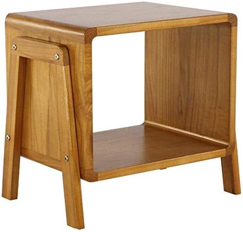 Wddwarmhome Mesita de noche, taburete multifunción/porche de madera maciza, estante de almacenamiento para mesita de noche (tamaño: 44,5 x 30 x 40 cm)