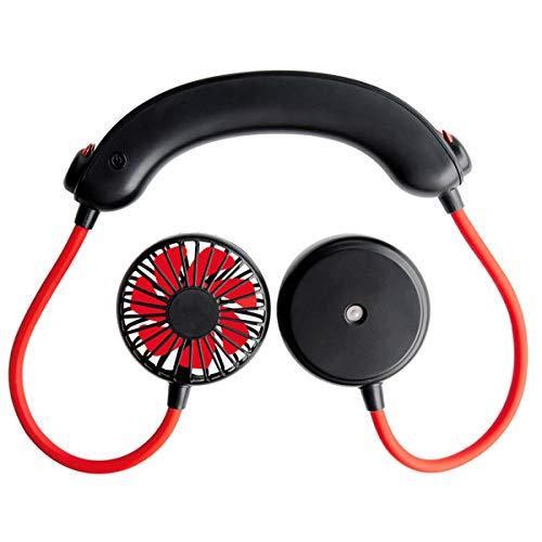 Yagosodee Ventilador de Banda para El Cuello Ajustable Ventilador de Enfriamiento Recargable USB Portátil para Oficina en Casa (Negro)