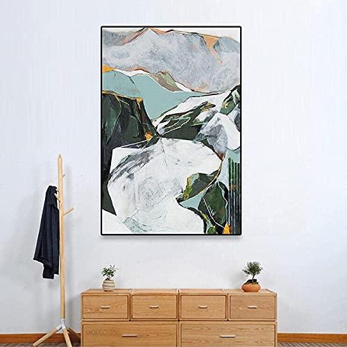 Obra de arte 60x80 cm sin marco abstracto geométrico bloque de color pintura impresión de carteles pared de mármol verde sala de estar decoración de interiores imagen