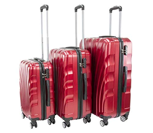 Red 20(cm), 24(cm), 28(cm) 3 Pcs Cabin Luggage Set Hard Case Suitcase Set Light Weight 4 Spinner Wheel Business Trip Travel Suitcases