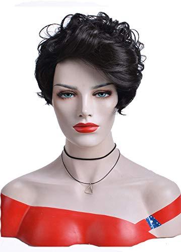 Perruques Courtes Perruques Synthétiques Bouclées Cheveux Noirs Avec Frange Pixie Coupe Partie Cheveux Latéraux Pour Femmes